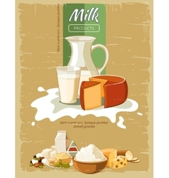 Milk products vintage poster vector image