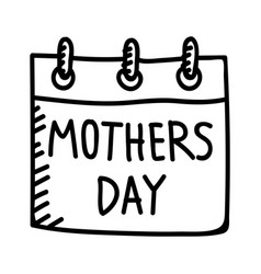 Mothers day calender hand drawn icon design sign vector