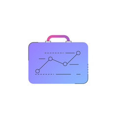 Neon briefcase with ascending graph line icon vector