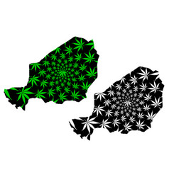 Niger - map is designed cannabis leaf vector