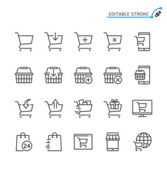Online shopping line icons editable stroke pixel vector