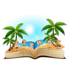 open book with group of happy children on the beac vector image