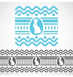 pattern with waves rabbit and egg vector image