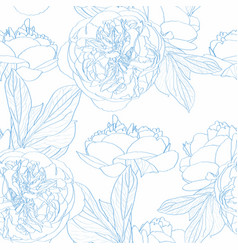 Peony rose flowers seamless pattern vector