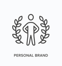 Personal brand flat line icon outline vector