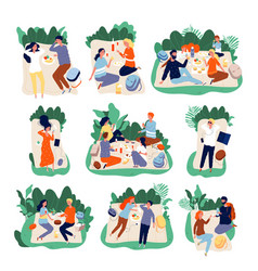 picnic friends people eating in park healthy vector image