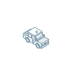 police car isometric icon 3d line art technical vector image