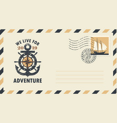 postal envelope on the theme of travel with stamp vector image