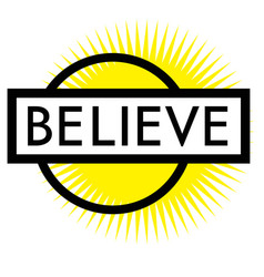Print believe stamp on white vector