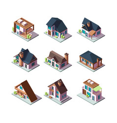 Private modern houses city residential models vector
