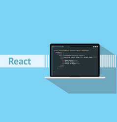 React native programming language with laptop and vector
