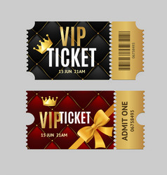 realistic detailed 3d vip tickets set vector image