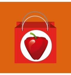 Red bag buying harvest pepper vegetable vector