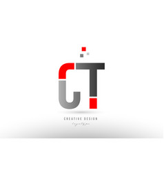 Red grey alphabet letter ct c t logo combination vector