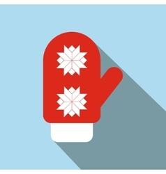 Red santa mitten flat icon vector
