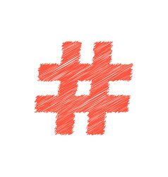 Red scribble hashtag icon vector