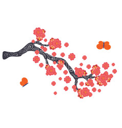 Sakura blooming branch vector