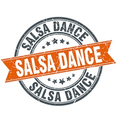 Salsa dance round orange grungy vintage isolated vector