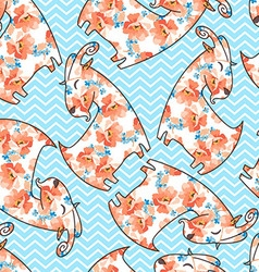 Seamless pattern with flower goat vector image