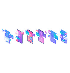 set isometric types applications for mobile vector image