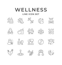 Set line icons wellness vector