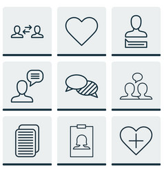 set of 9 communication icons includes chatting vector image