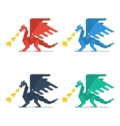 Set of dragons with fire vector
