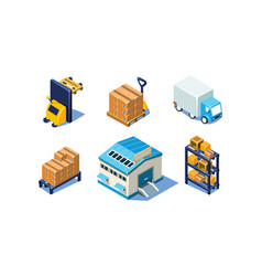 set of isometric warehouse and logistics vector image