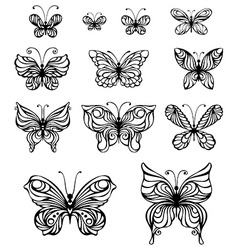 set of vintage butterflies vector image
