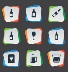 set simple water icons vector image
