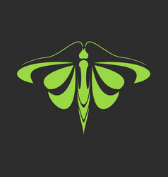 sign of a green butterfly on a black background vector image