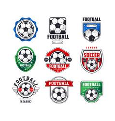 soccer league logo set collection football vector image