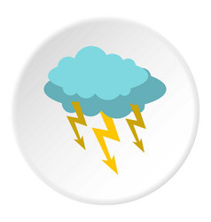 Storm cloud lightning bolt icon circle vector