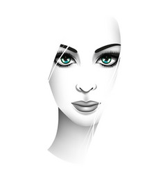 stylized young woman portrait beauty and fashion vector image