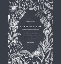 Summer wild flowers design on chalkboard floral vector
