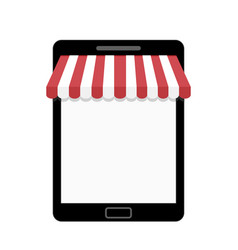 tablet with striped awning template for web shop vector image