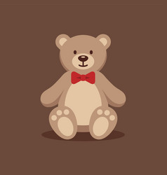 Teddy bear with red bow tie vector
