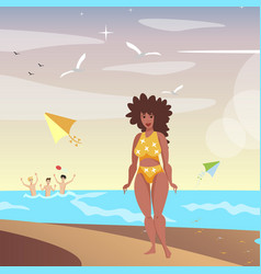 the black girl with on a beach vector image