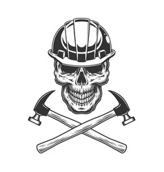 Vintage builder skull with crossed hammers vector