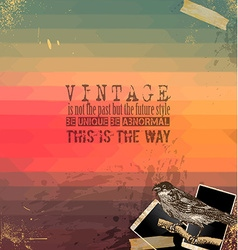 vintage scrapbook with hipster background vector image