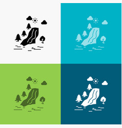 Waterfall tree pain clouds nature icon over vector