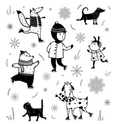 winter skiing vintage cartoon set black and white vector image
