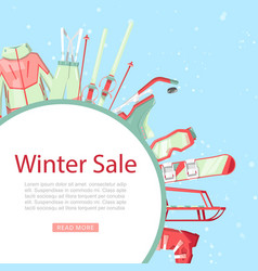 winter sport sale with ski and snowboard equipment vector image