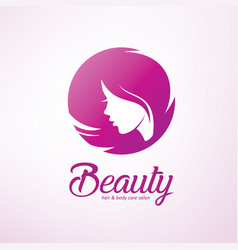 Womans hair style stylized sillhouette beauty vector