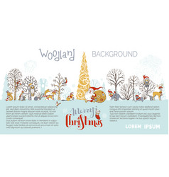 Woodland christmas background vector