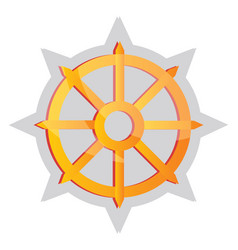 yellow buddhist symbol on a white background vector image