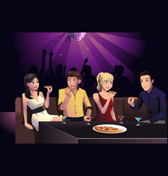 young people eating pizza vector image