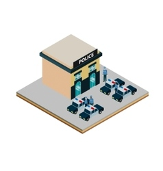 Isometric police station icon vector image vector image