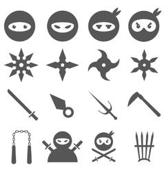Ninja samurai and weapons icons set vector image vector image