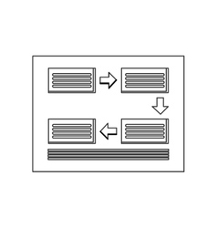 rectangles and arrows diagram icon vector image